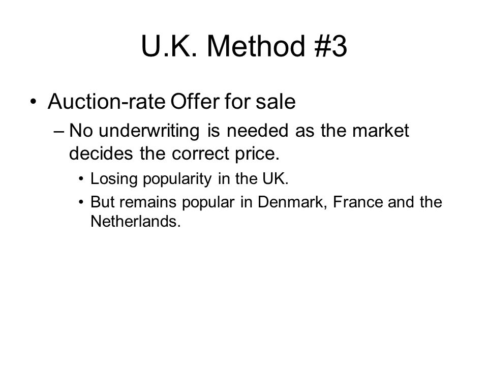 U.K. Method #3 Auction-rate Offer for sale