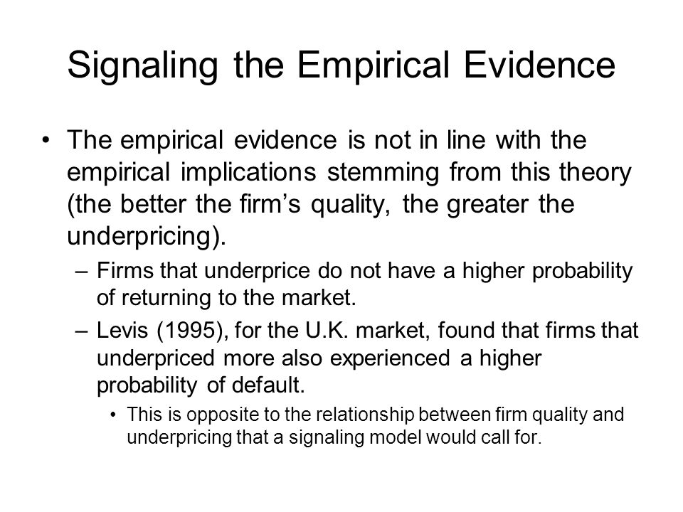 Signaling the Empirical Evidence