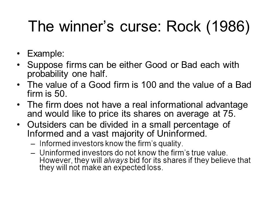The winner's curse: Rock (1986)