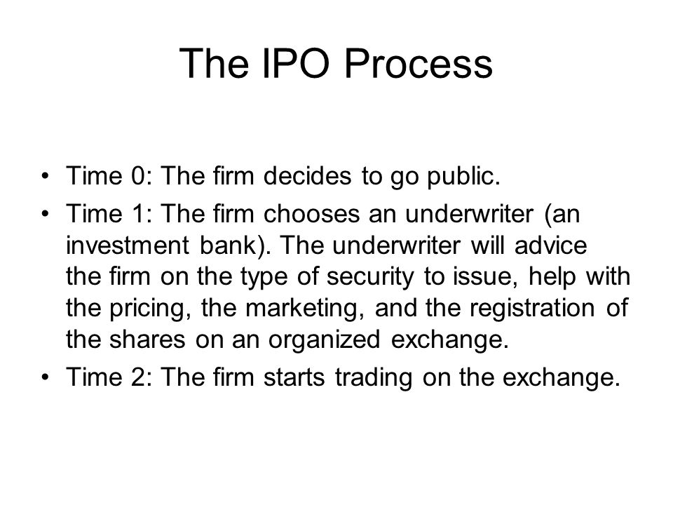 The IPO Process Time 0: The firm decides to go public.