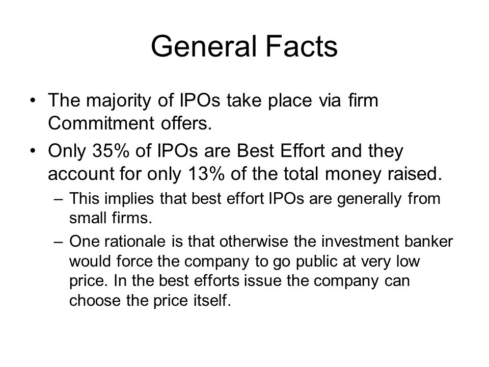 General Facts The majority of IPOs take place via firm Commitment offers.