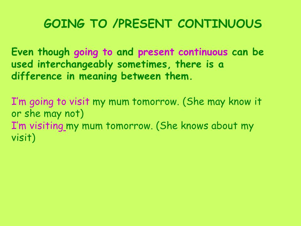GOING TO /PRESENT CONTINUOUS