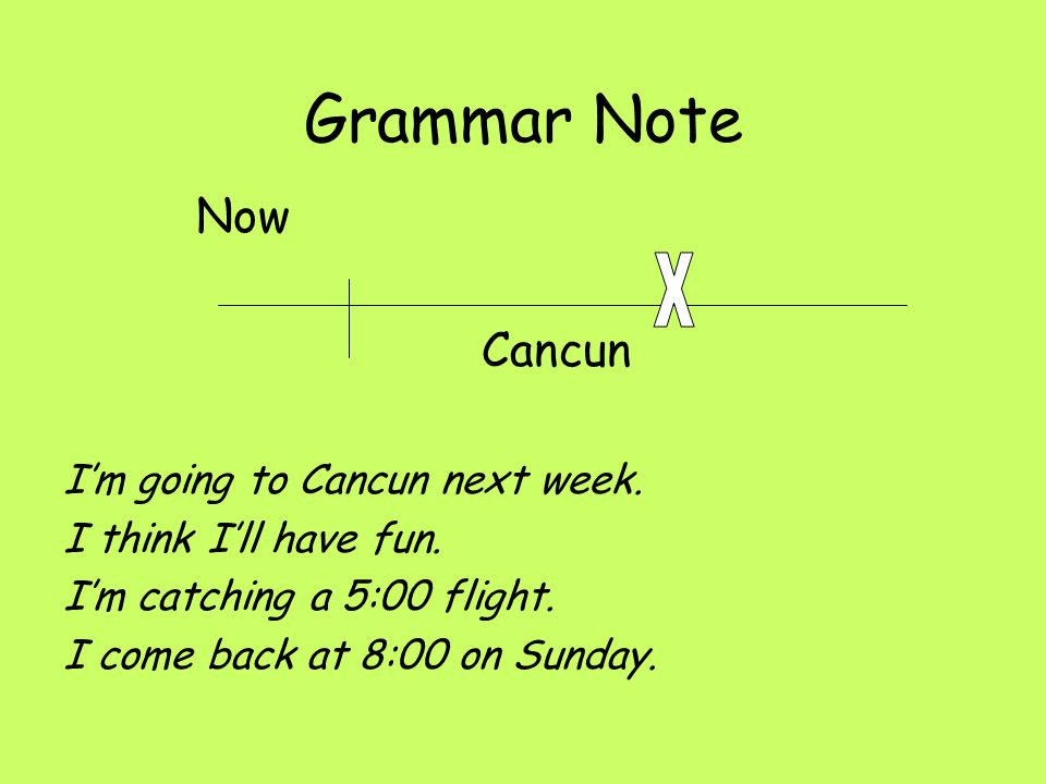 Grammar Note X Now Cancun I'm going to Cancun next week.