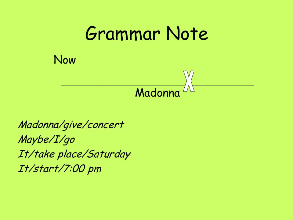 Grammar Note X Now Madonna Madonna/give/concert Maybe/I/go