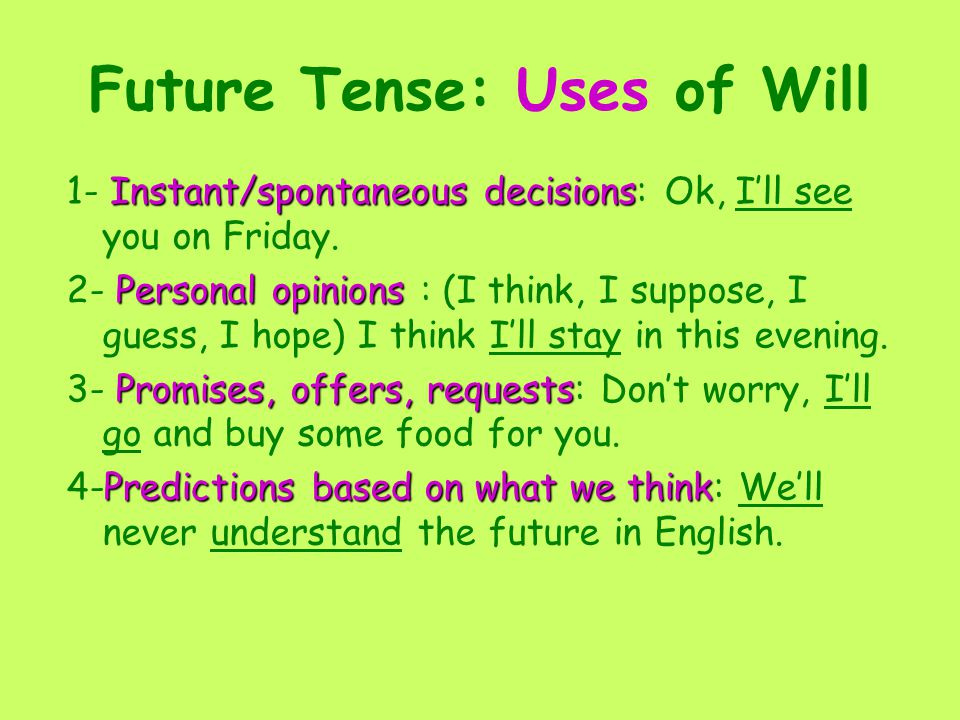 Future Tense: Uses of Will