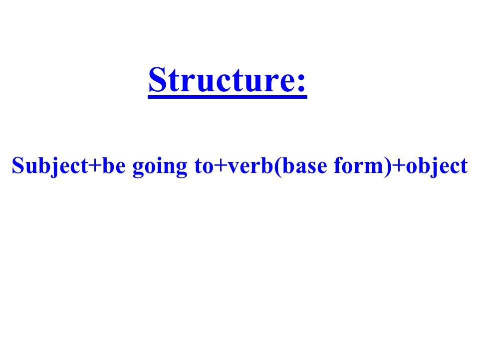 Subject+be going to+verb(base form)+object