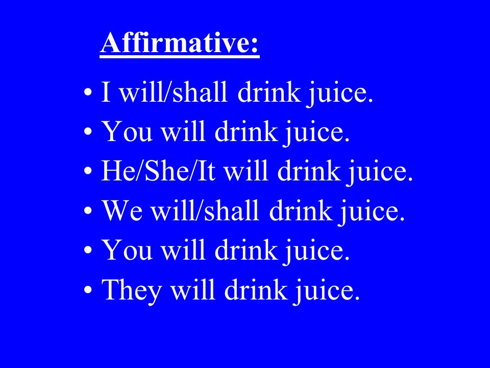 Affirmative: I will/shall drink juice. You will drink juice. He/She/It will drink juice. We will/shall drink juice.