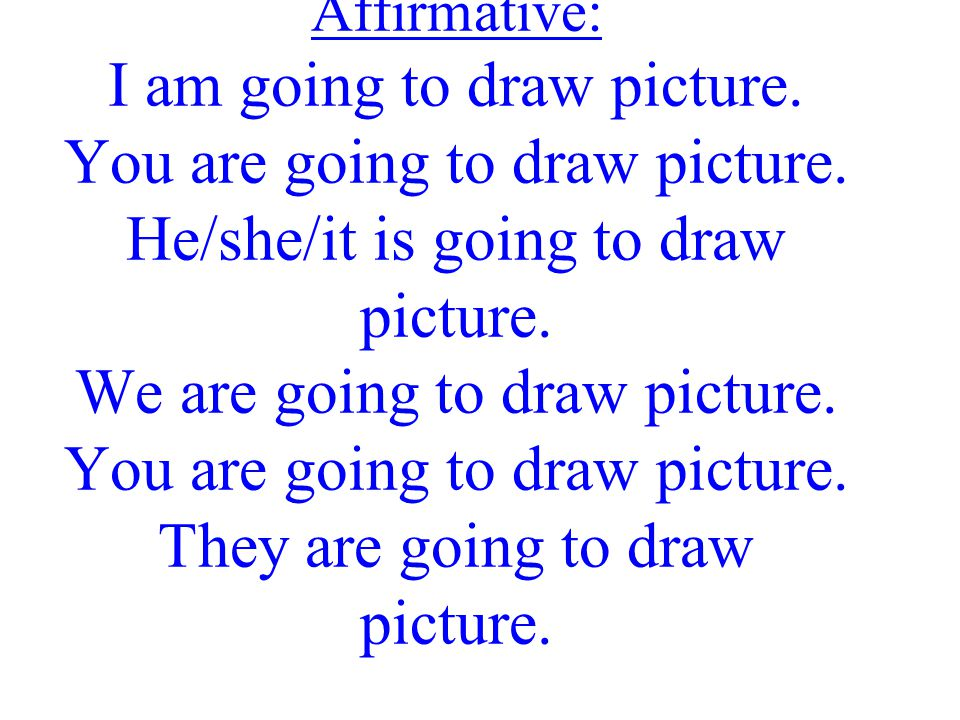 Affirmative: I am going to draw picture. You are going to draw picture