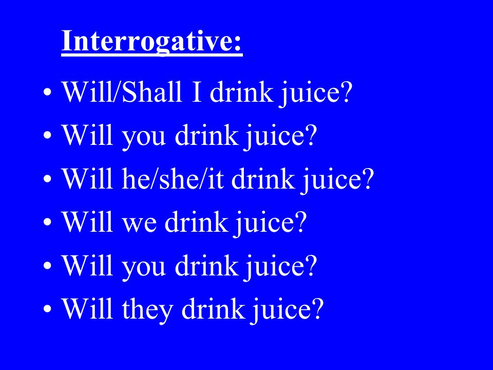 Interrogative: Will/Shall I drink juice Will you drink juice Will he/she/it drink juice Will we drink juice