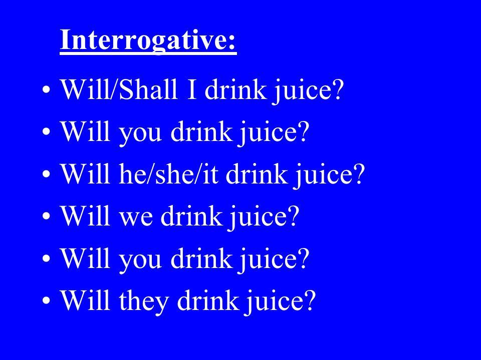 Interrogative: Will/Shall I drink juice Will you drink juice Will he/she/it drink juice Will we drink juice