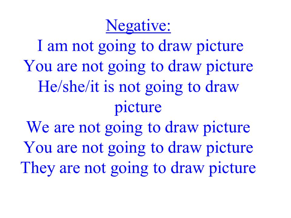 Negative: I am not going to draw picture You are not going to draw picture He/she/it is not going to draw picture We are not going to draw picture You are not going to draw picture They are not going to draw picture