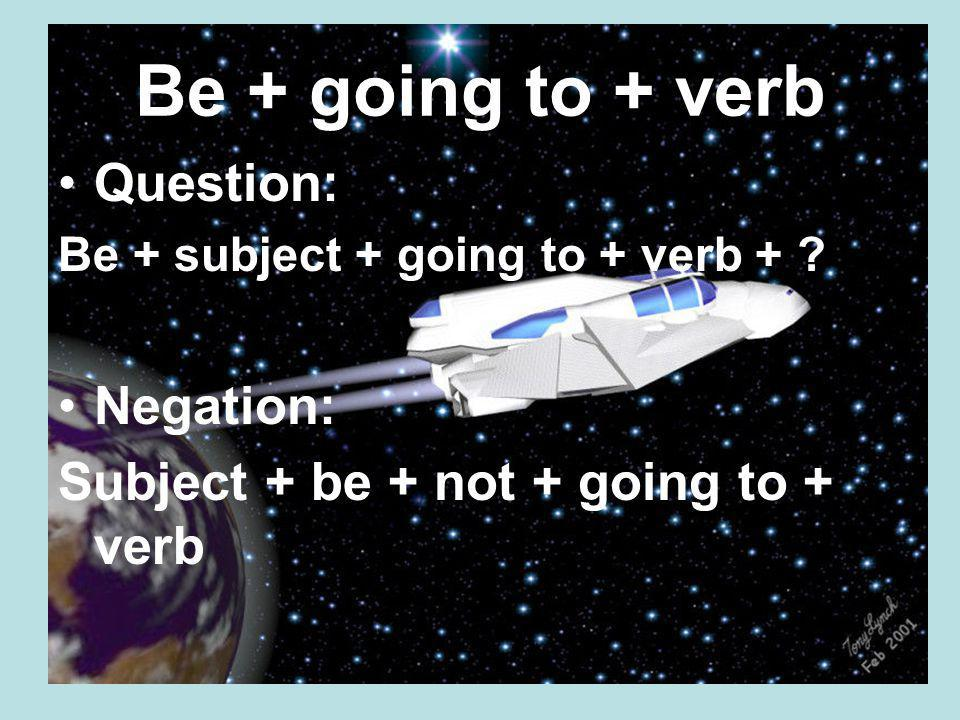 Be + going to + verb Question: Negation: