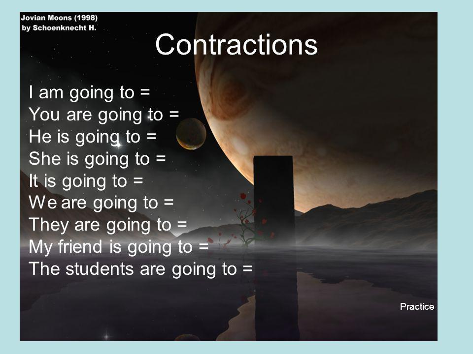 Contractions I am going to = You are going to = He is going to =