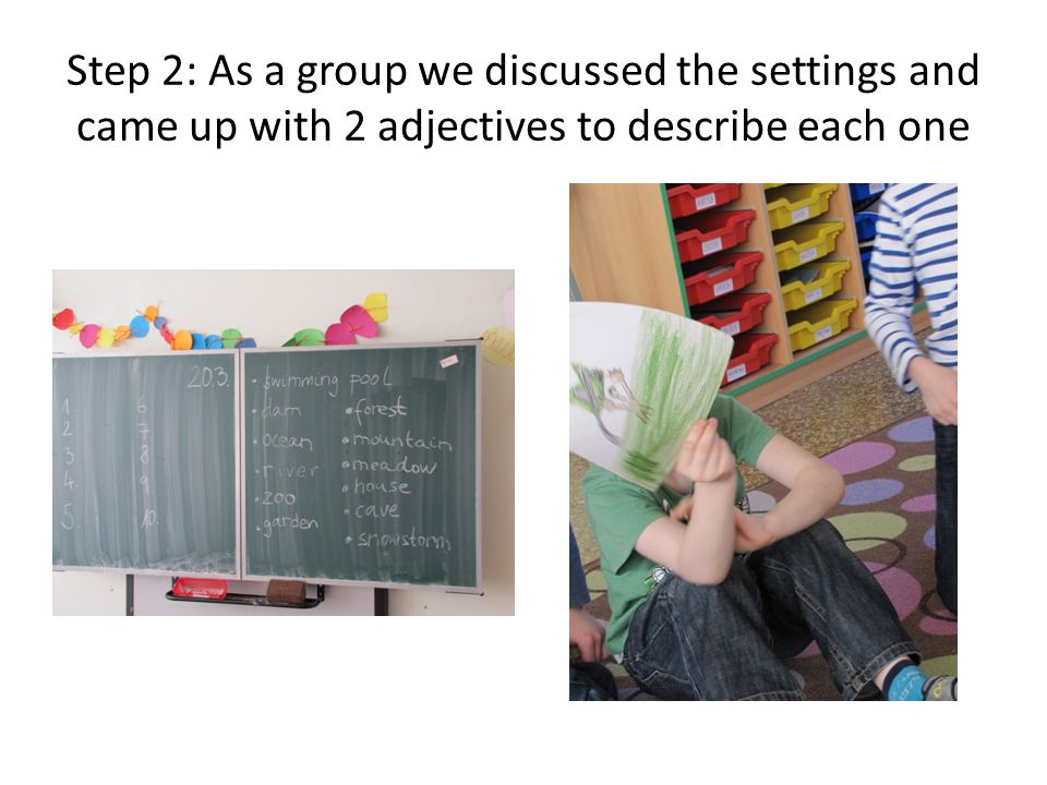 Step 2: As a group we discussed the settings and came up with 2 adjectives to describe each one