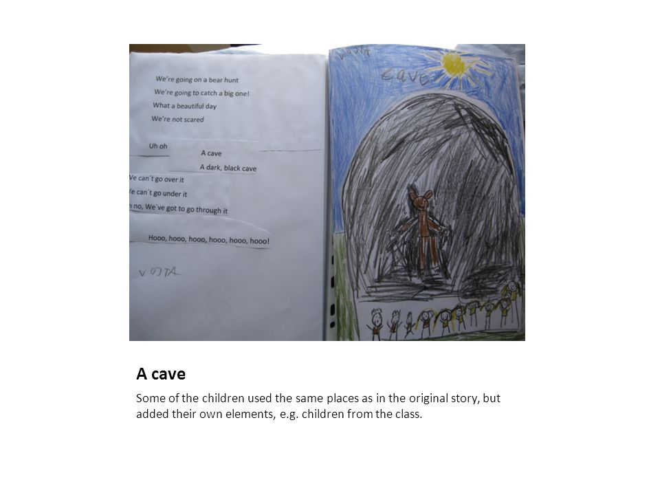 A cave Some of the children used the same places as in the original story, but added their own elements, e.g.