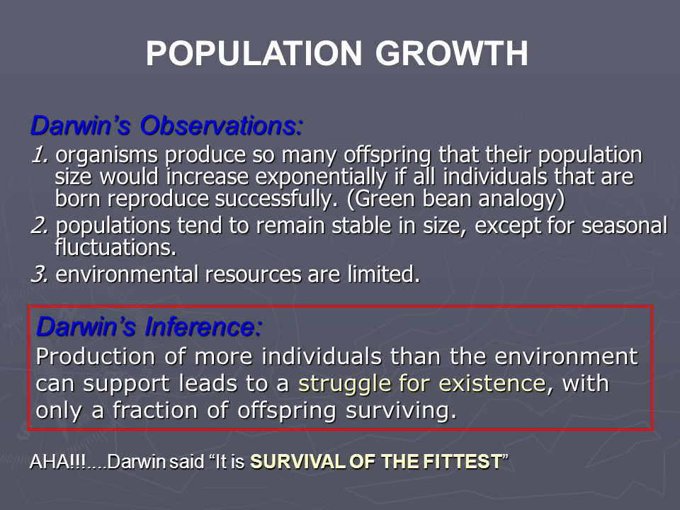 POPULATION GROWTH Darwin's Observations: Darwin's Inference: