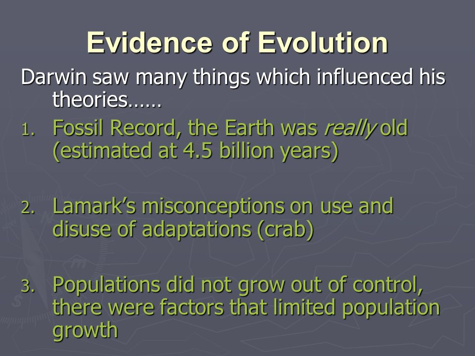 Evidence of Evolution Darwin saw many things which influenced his theories……