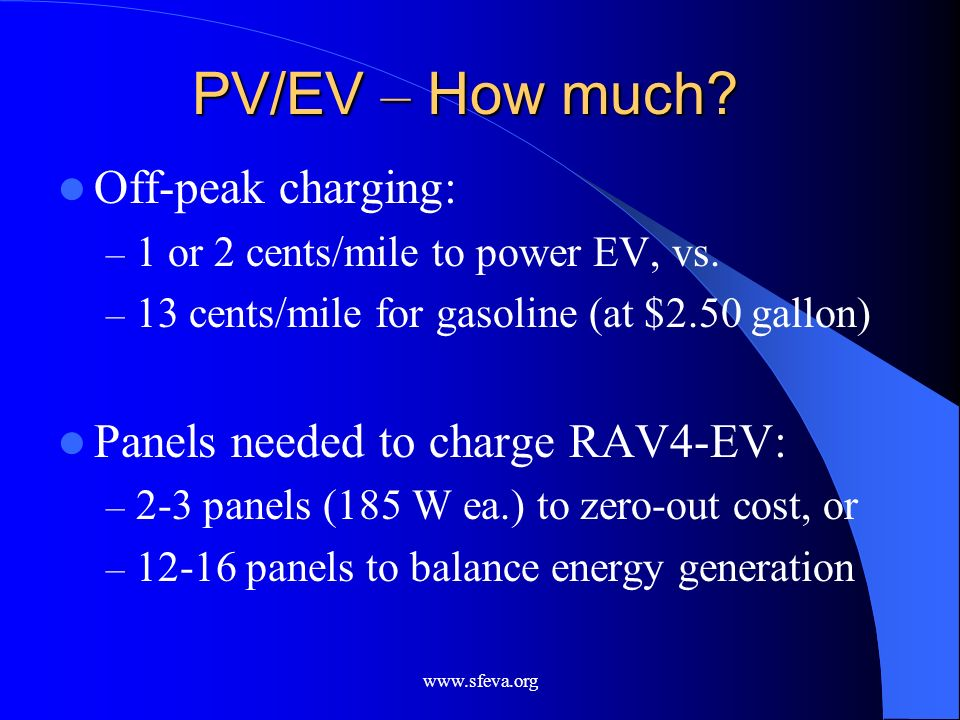 PV/EV – How much Off-peak charging: Panels needed to charge RAV4-EV: