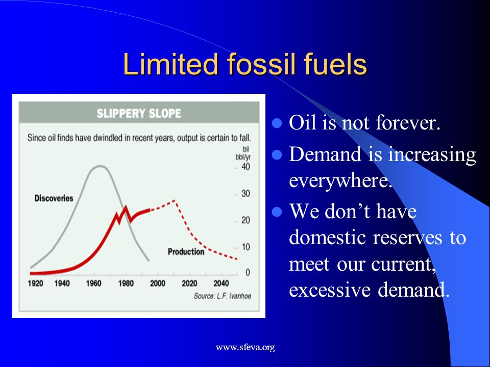 Limited fossil fuels Oil is not forever.