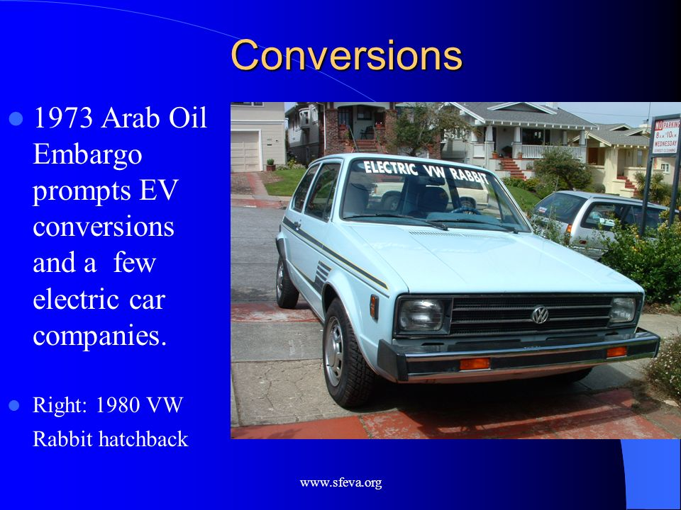 Conversions 1973 Arab Oil Embargo prompts EV conversions and a few electric car companies. Right: 1980 VW Rabbit hatchback.