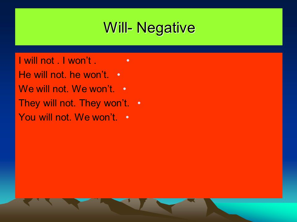 Will- Negative I will not . I won't . He will not. he won't.
