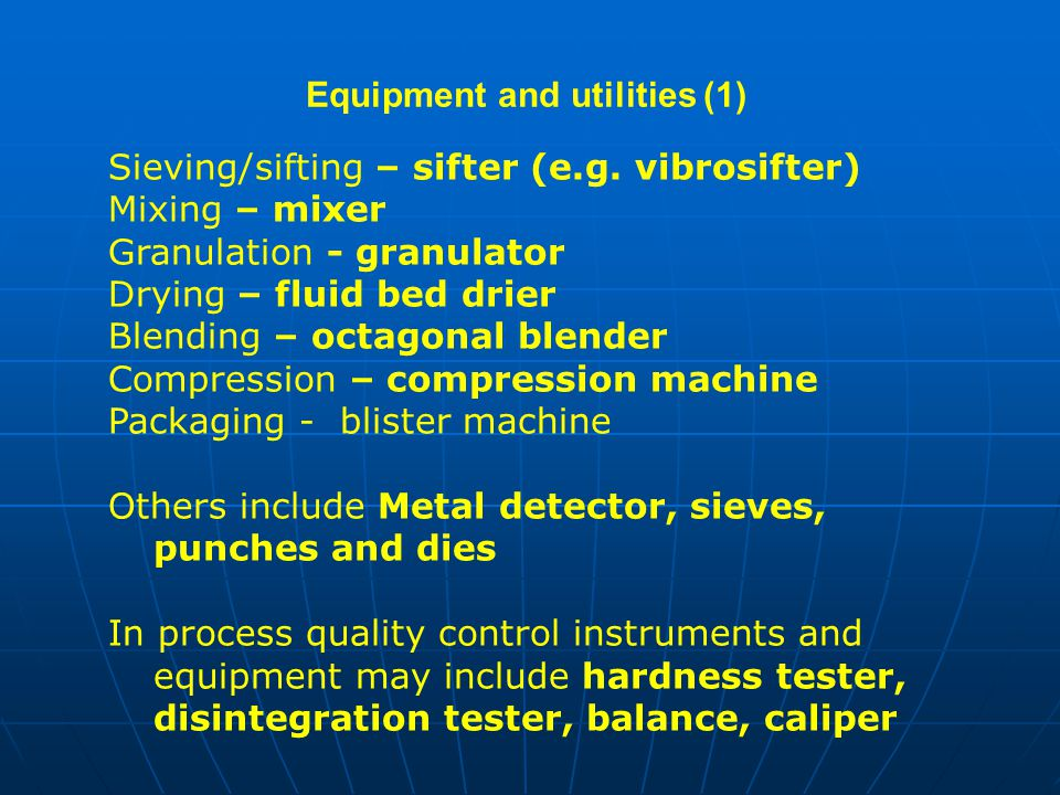 Equipment and utilities (1)