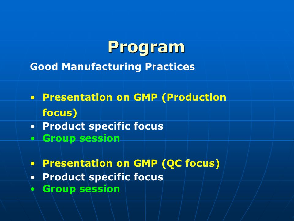 Program Good Manufacturing Practices