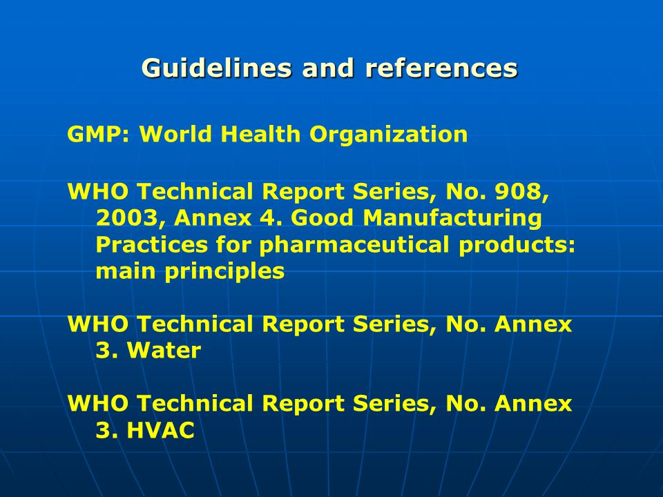 Guidelines and references