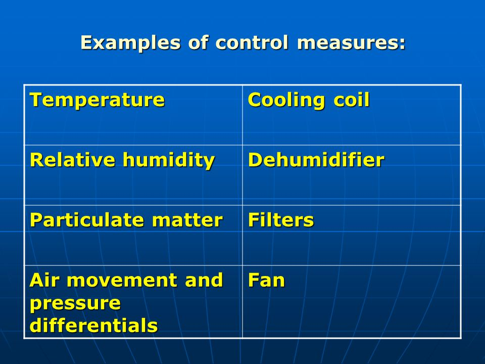Examples of control measures: