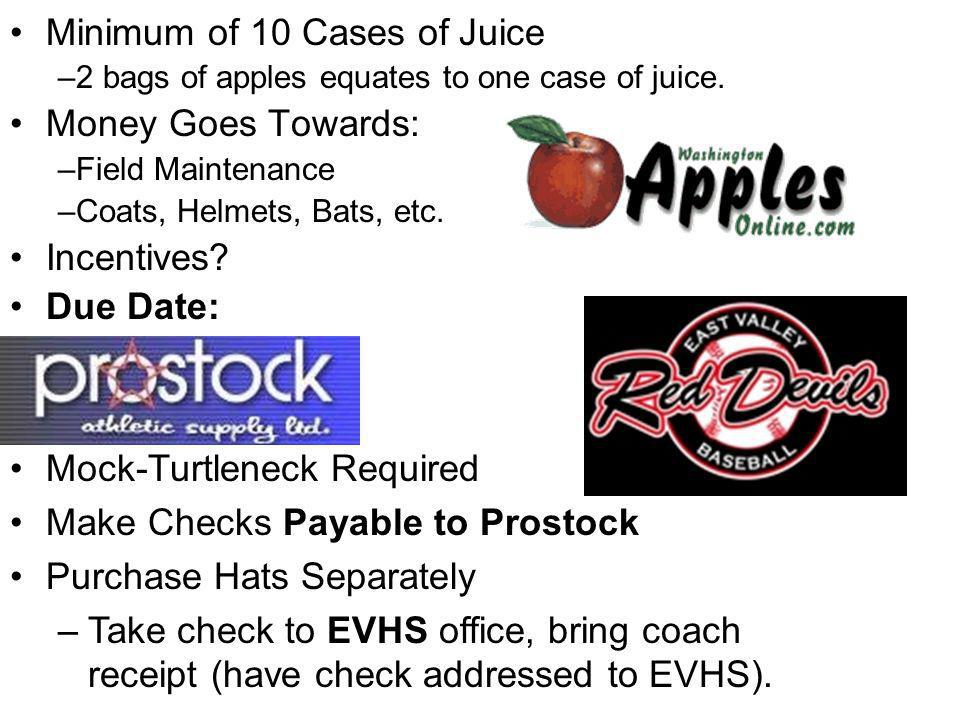 Minimum of 10 Cases of Juice Money Goes Towards: