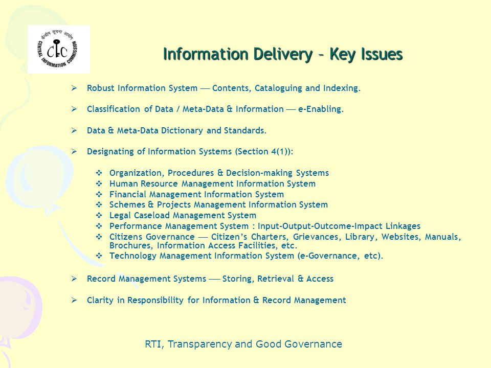 Information Delivery – Key Issues