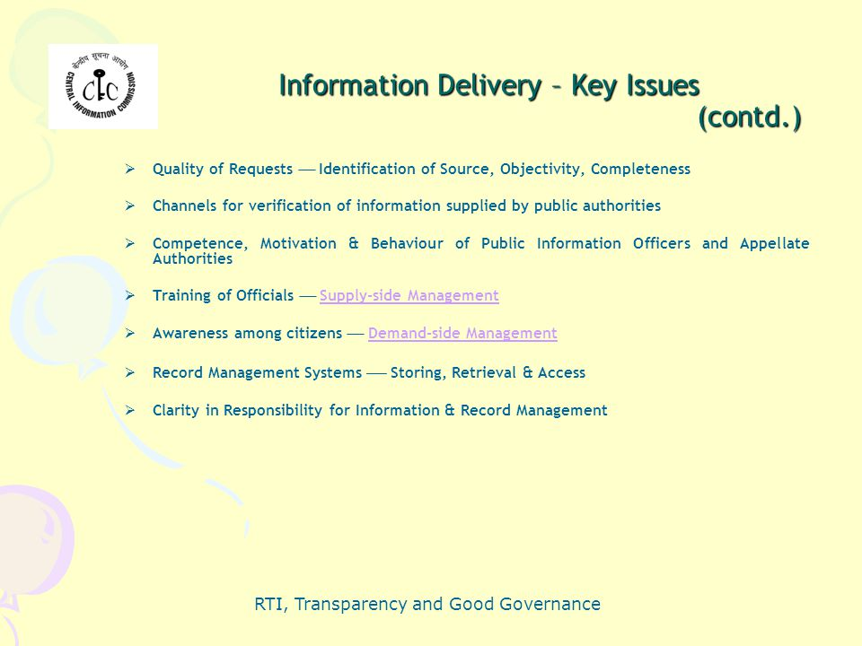 Information Delivery – Key Issues (contd.)