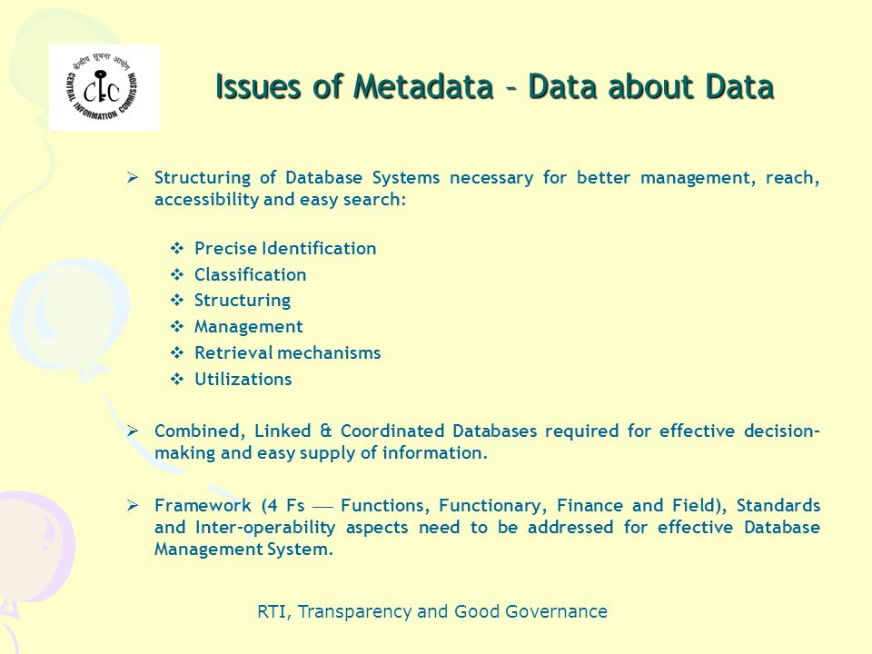 Issues of Metadata – Data about Data