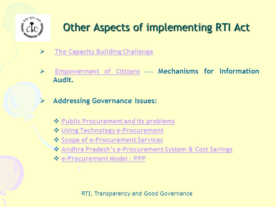Other Aspects of implementing RTI Act