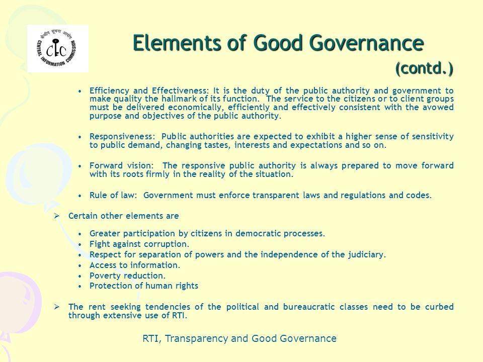 Elements of Good Governance (contd.)