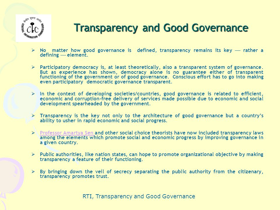 Transparency and Good Governance