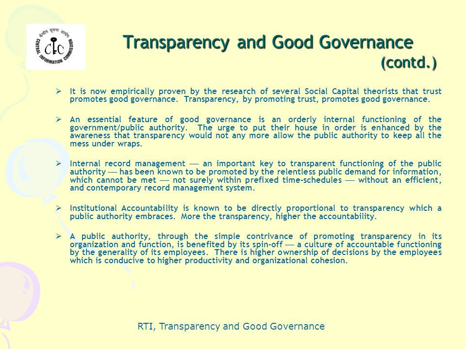 Transparency and Good Governance (contd.)