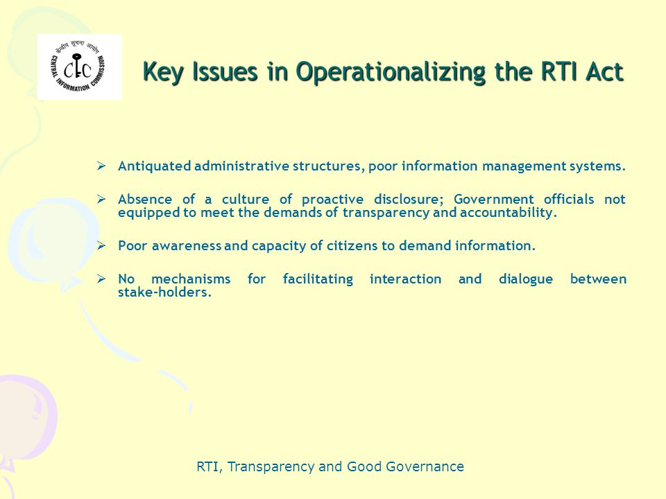 Key Issues in Operationalizing the RTI Act