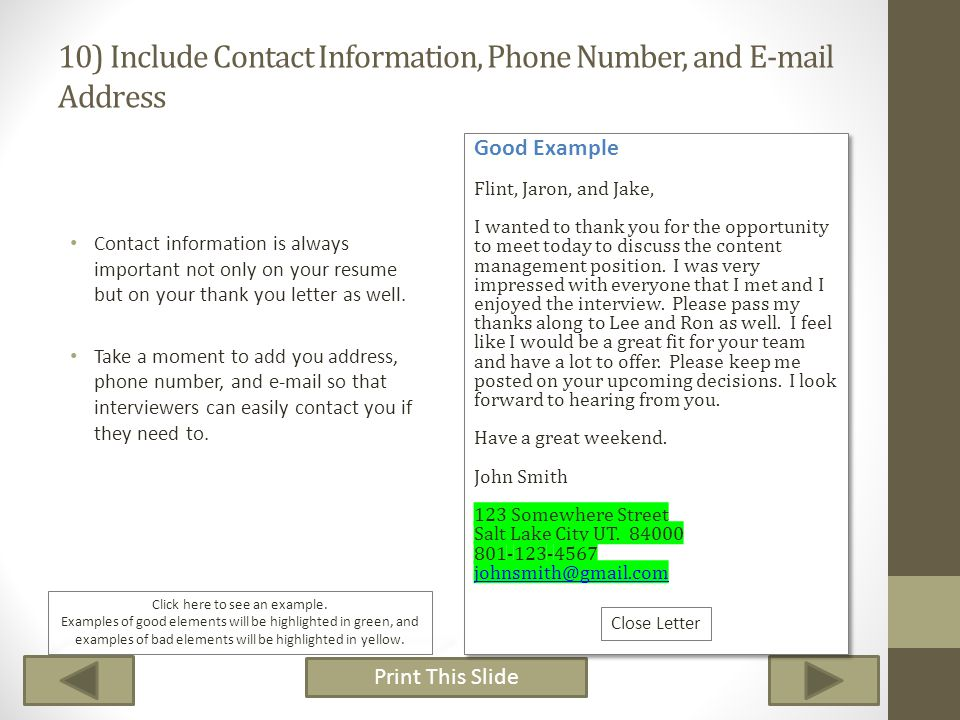 10) Include Contact Information, Phone Number, and E-mail Address