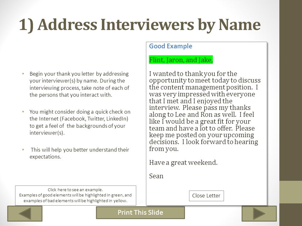 1) Address Interviewers by Name