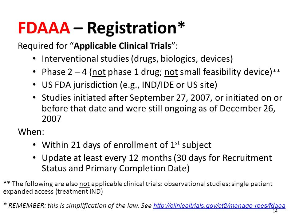 FDAAA – Registration* Required for Applicable Clinical Trials :