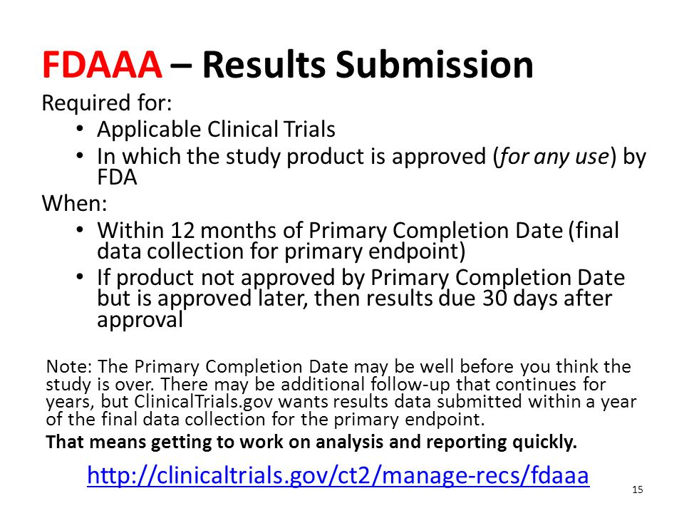 FDAAA – Results Submission