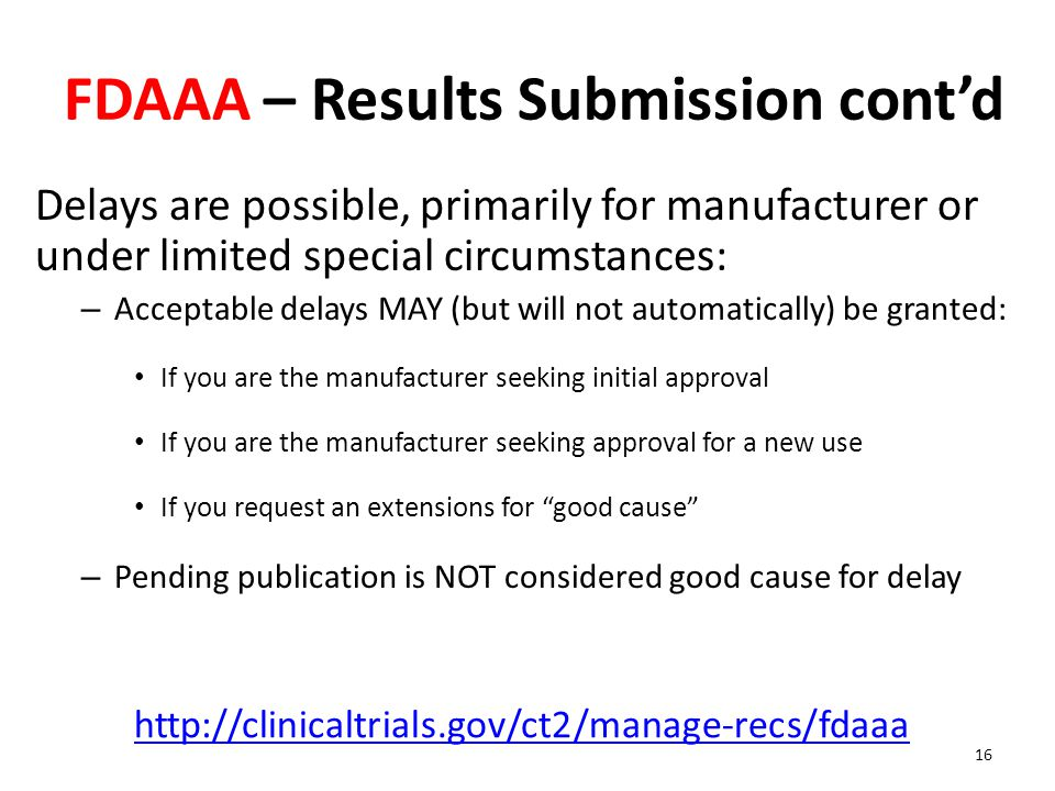 FDAAA – Results Submission cont'd
