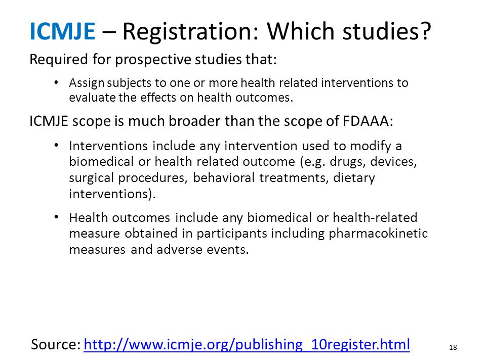 ICMJE – Registration: Which studies