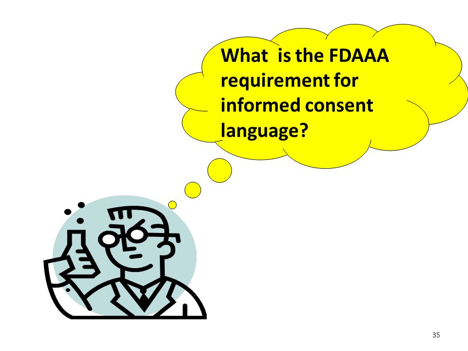 What is the FDAAA requirement for informed consent language