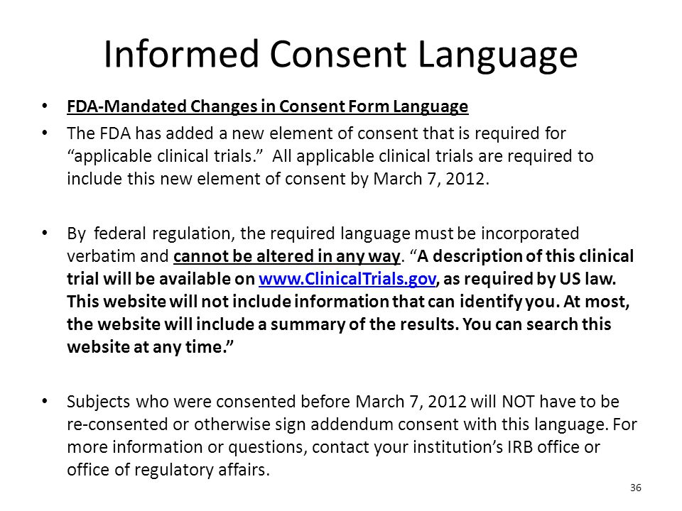Informed Consent Language