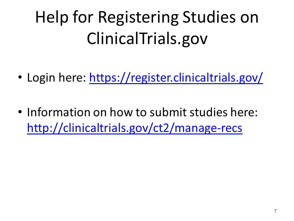 Help for Registering Studies on ClinicalTrials.gov