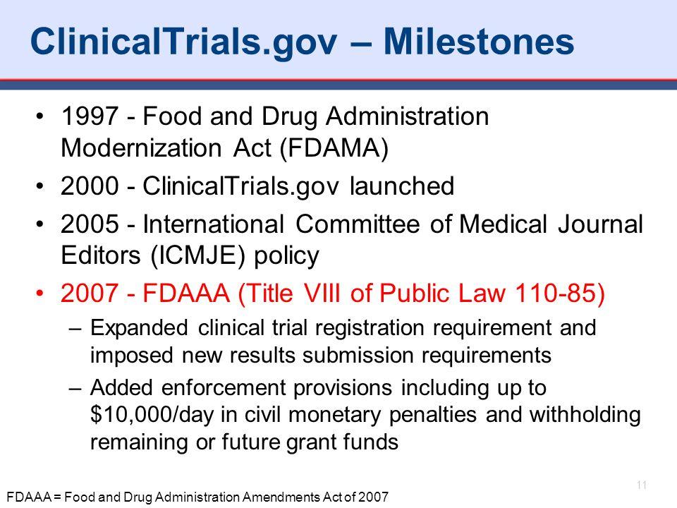 ClinicalTrials.gov – Milestones