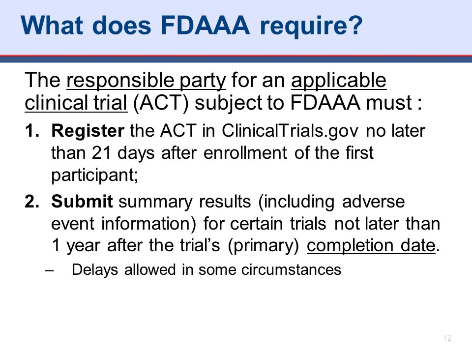 What does FDAAA require