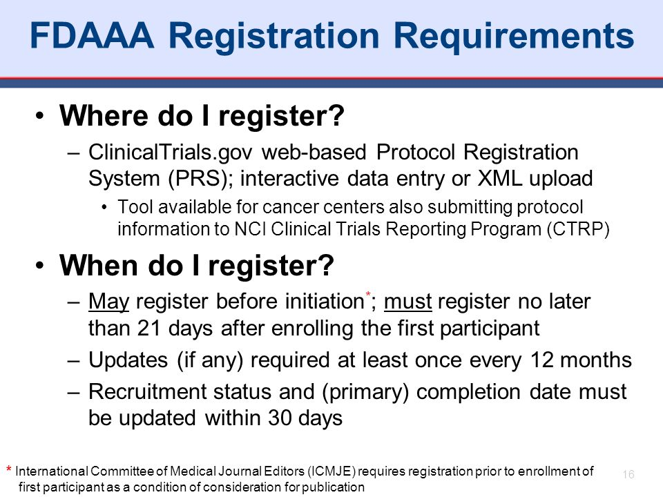 FDAAA Registration Requirements